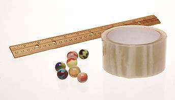 ruler marbles tape