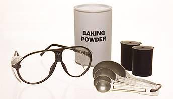 safety glasses baking powder spoons